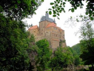 Burg Kriebstein (Sachsen) - Blick vom Fluss